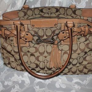 Coach Signature Brown Hand Bag Canvas